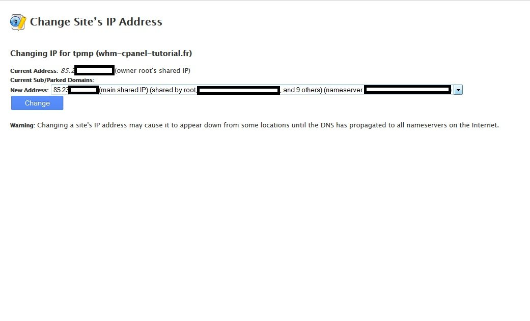 Change Sites IP Address