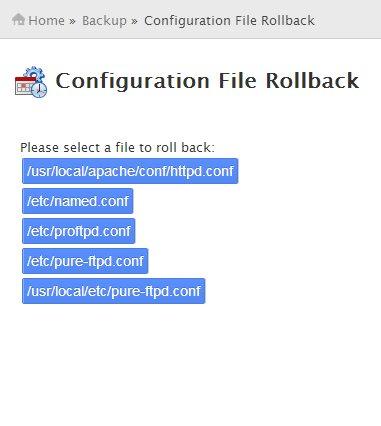 Configuration File Rollback