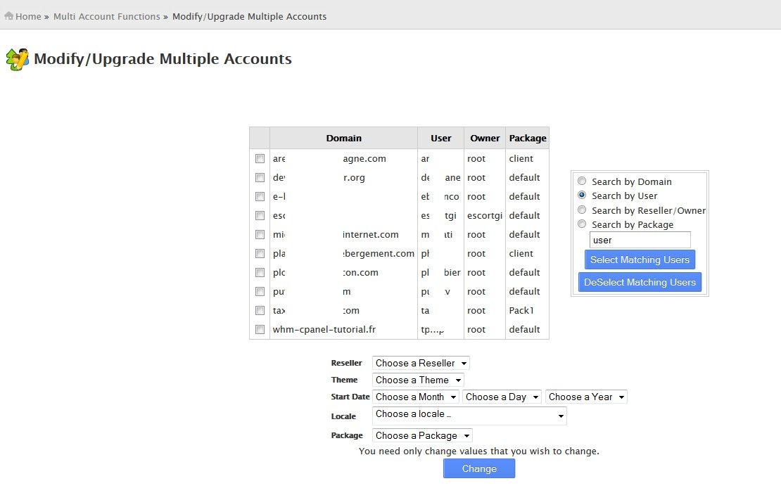Modify Upgrade Multiple Accounts