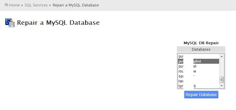 Repair a MySQL Database