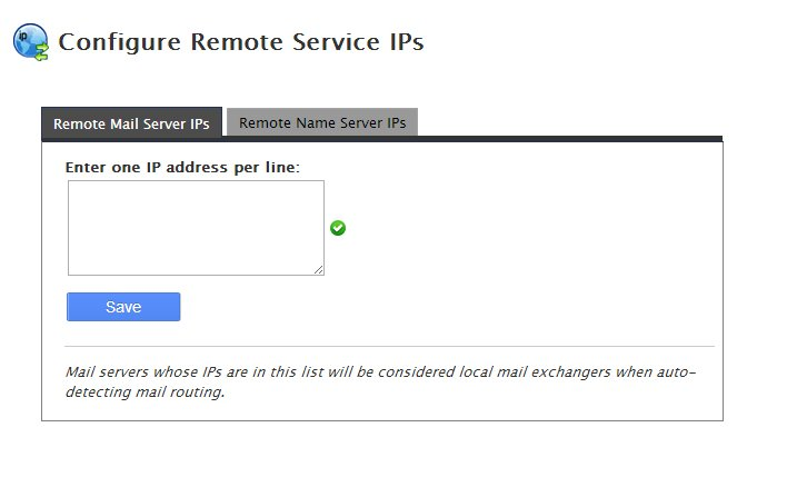 Configure Remote Service IPs whm cpanel