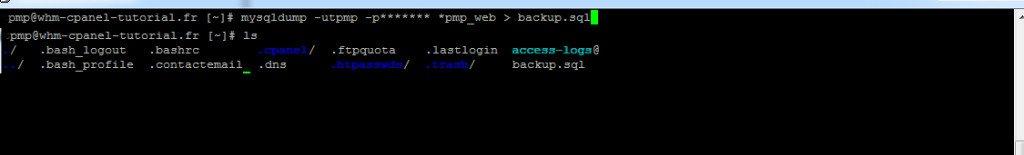 Sauvegarde base de donnée en ligne de commande cpanel