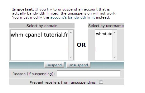 Suspend Unsuspend an Account