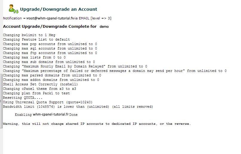 Upgrade Downgrade an Account