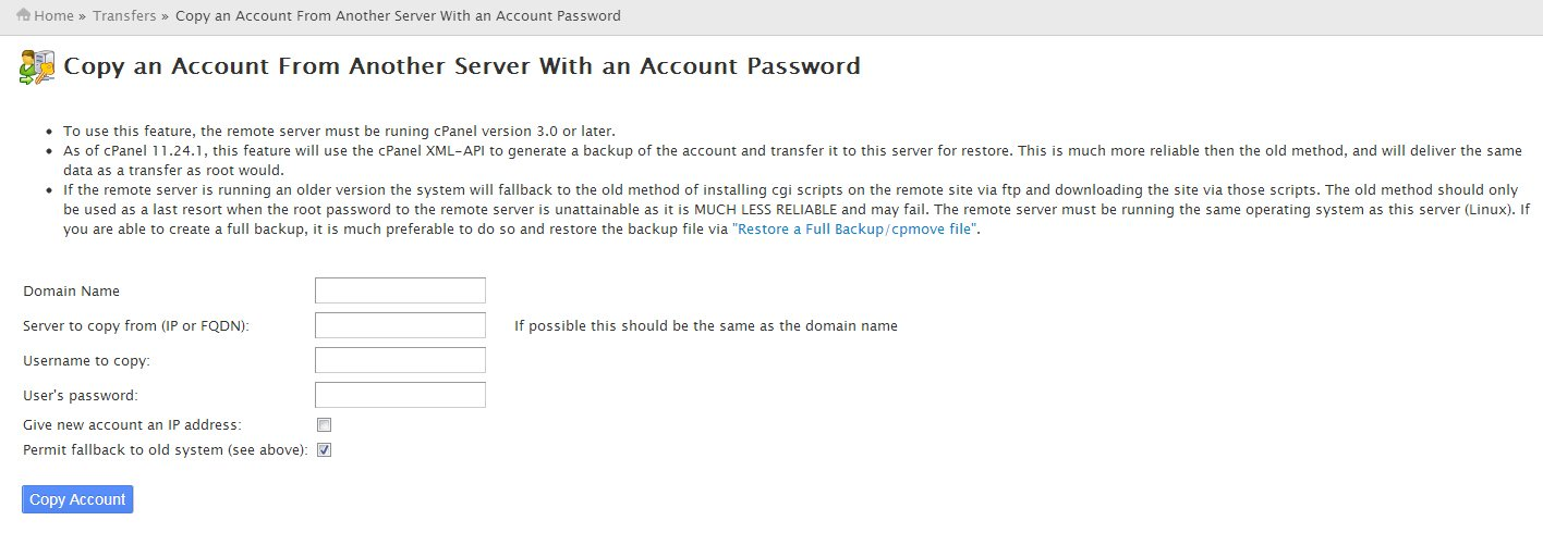 Copy an Account from Another Server with Account Password